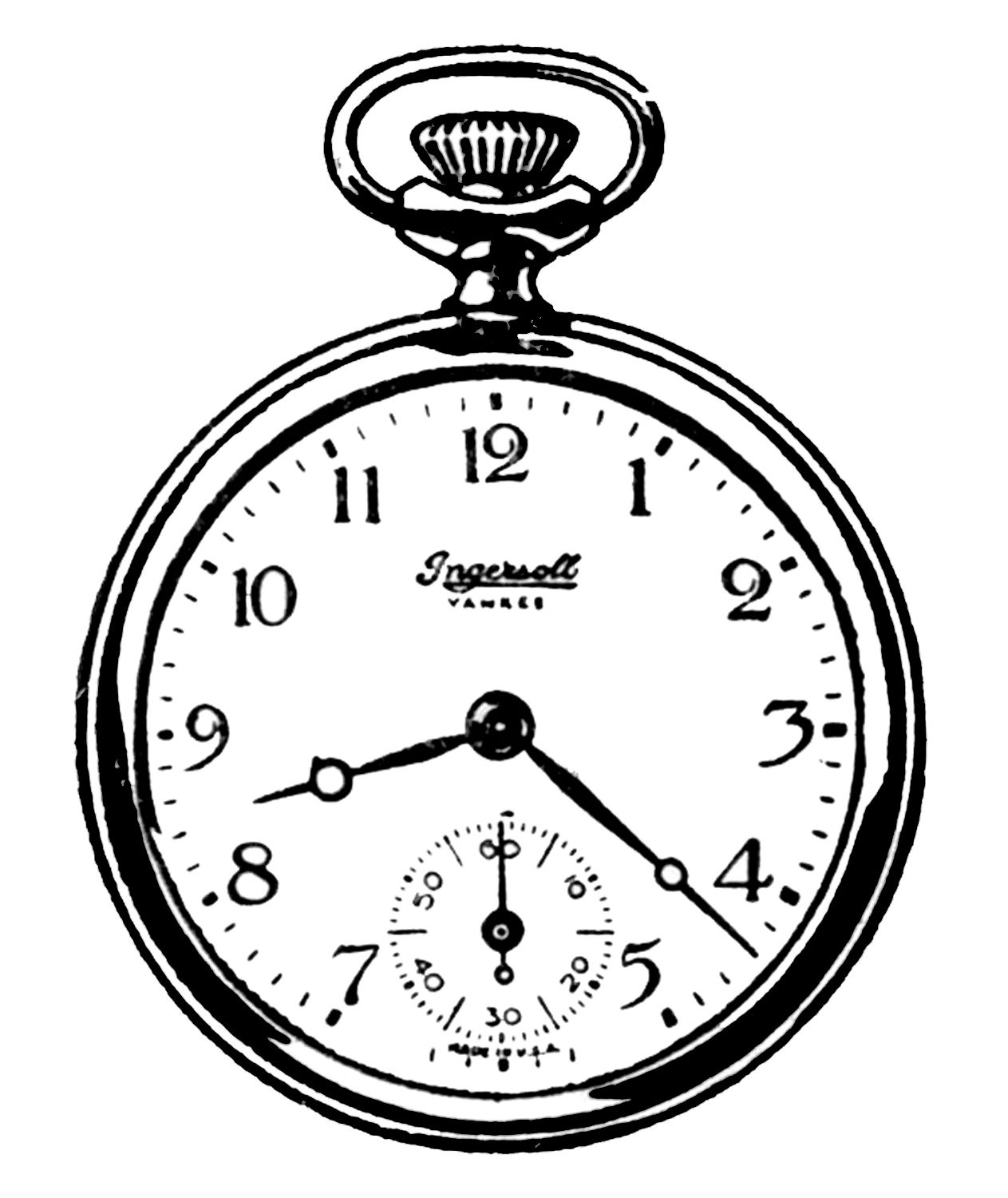 Vintage Clip Art Black and White Pocket Watches Clip