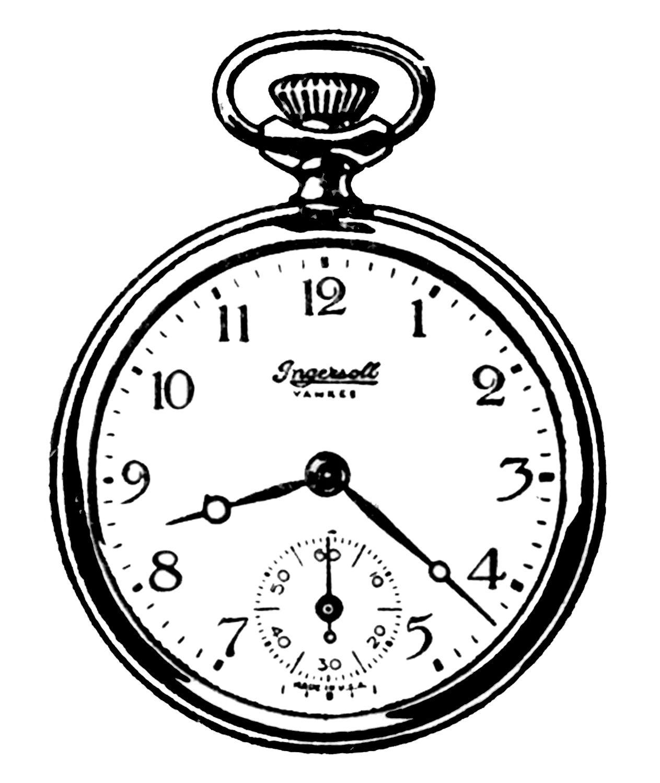vintage clip art black and white pocket watches printables rh pinterest com pocket watch face clip art free pocket watch clip art
