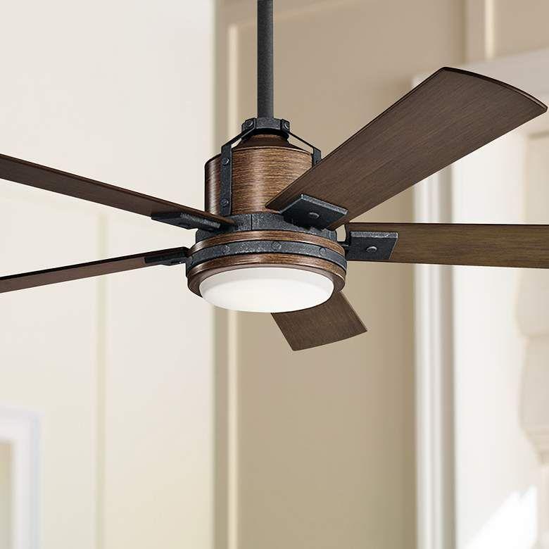 52 Kichler Colerne Auburn Stained Led Ceiling Fan 59r95 Lamps Plus Led Ceiling Fan Ceiling Fan Modern Ceiling Fan