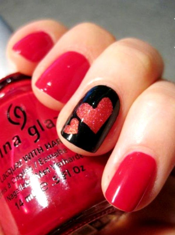 Shimmer Hearts Accent Black Red Nails Nail Designs Valentines