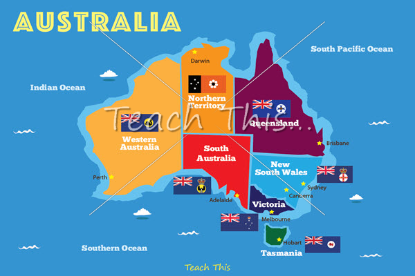 map of australia with state flags
