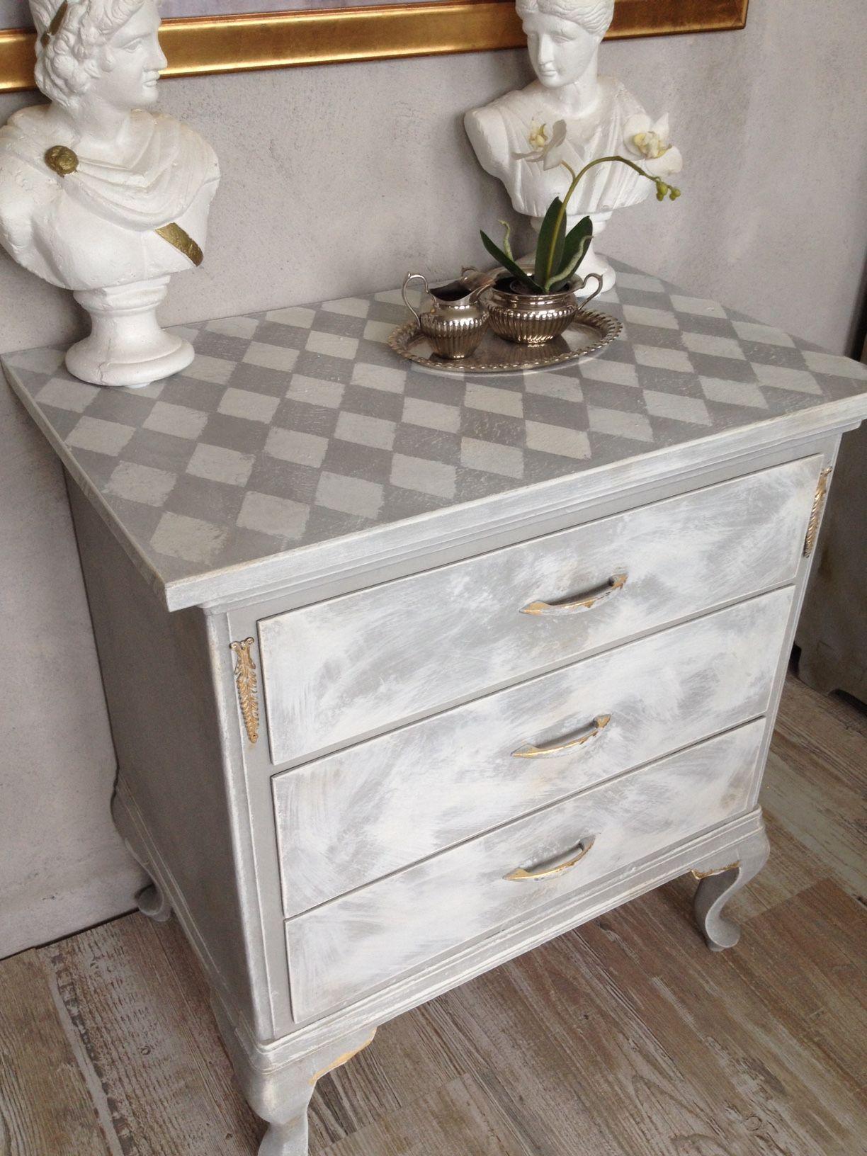 kommode möbel shabby chic grau weiß raute vintage antik fassmalerei
