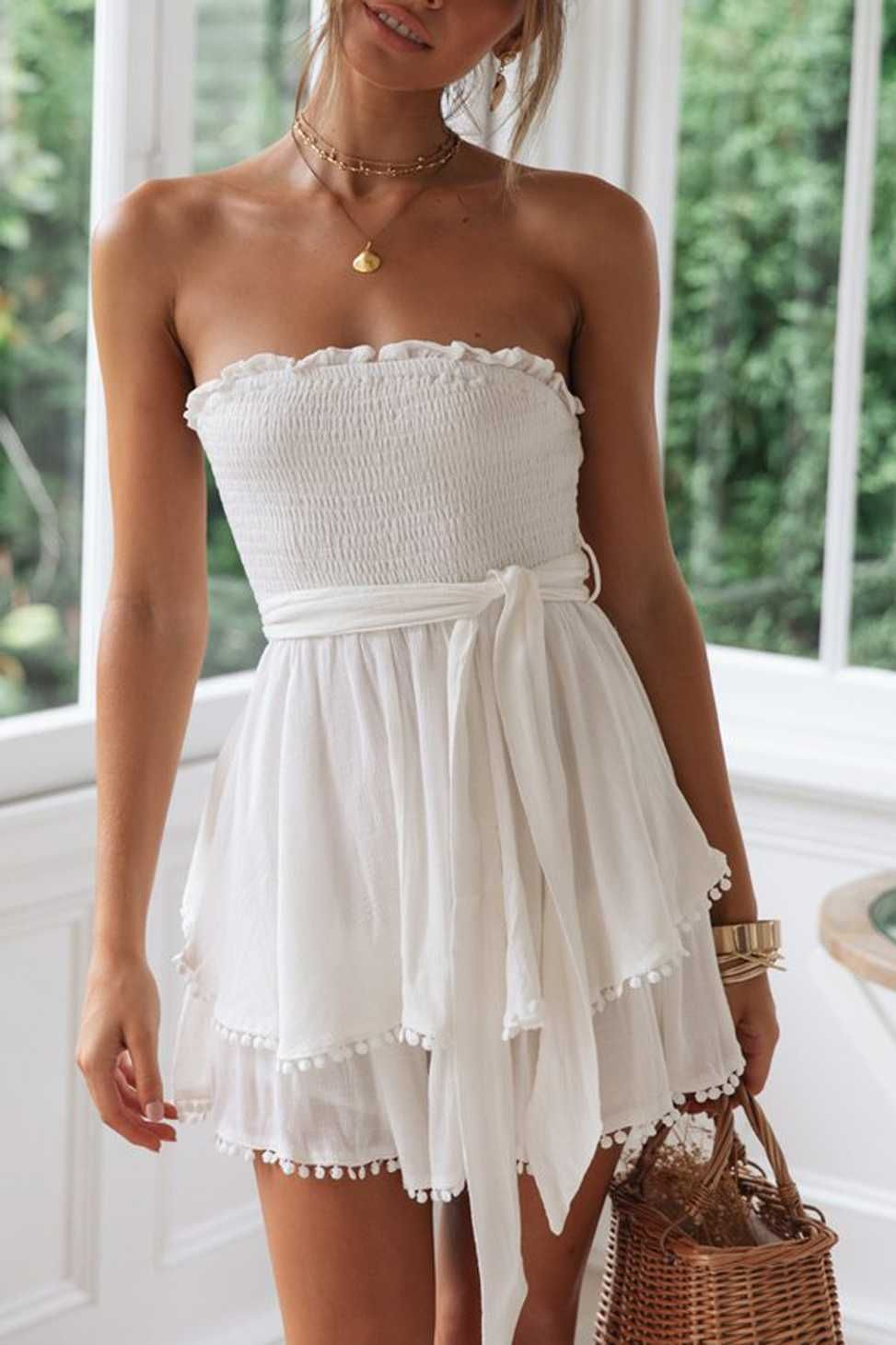 Tie Waist Smocked Pompom Trimed Layered Strapless Romper Shorts Bandeau Playsuits - White dress summer, Trendy dresses summer, Womens dresses, Casual dress, Casual summer dresses, Fashion -  Blue Size Details Size S   Bust 64100 cm, Hip 153 cm, Length 63 cm; Size M  Bust 68104 cm, Hip 157 cm, Length 64 cm; Size L    Bust 72108 cm, Hip 162 cm, Length 65 cm; Size XL  Bust 76112 cm, Hip 165 cm, Length 66 cm; DesignBandeau Rompers, Pom pom Trimed, Tie Front, Waist Tie, Short Playsuits, Layered, High Waisted, Slimming  Weight approx 0 22 0 kg Machine Wash Cold