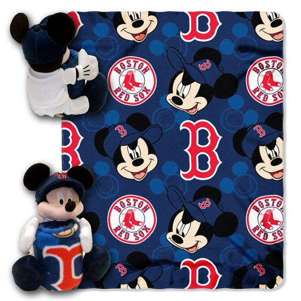 Disney Boston Red Sox MLB Mickey Mouse Plush Blanket Set