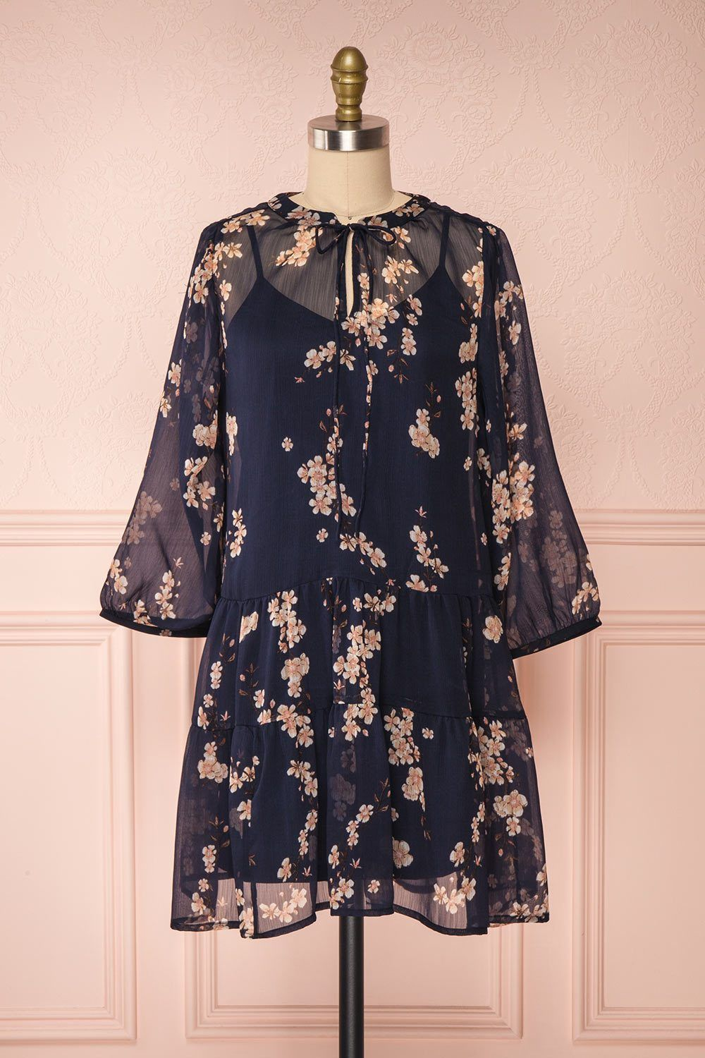 Sussen Navy Blue Floral A-Line Short Dress | Boutique 1861