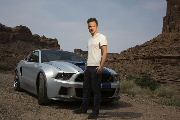 Aaron Paul and the star car Ford Mustang in the Need for Speed film