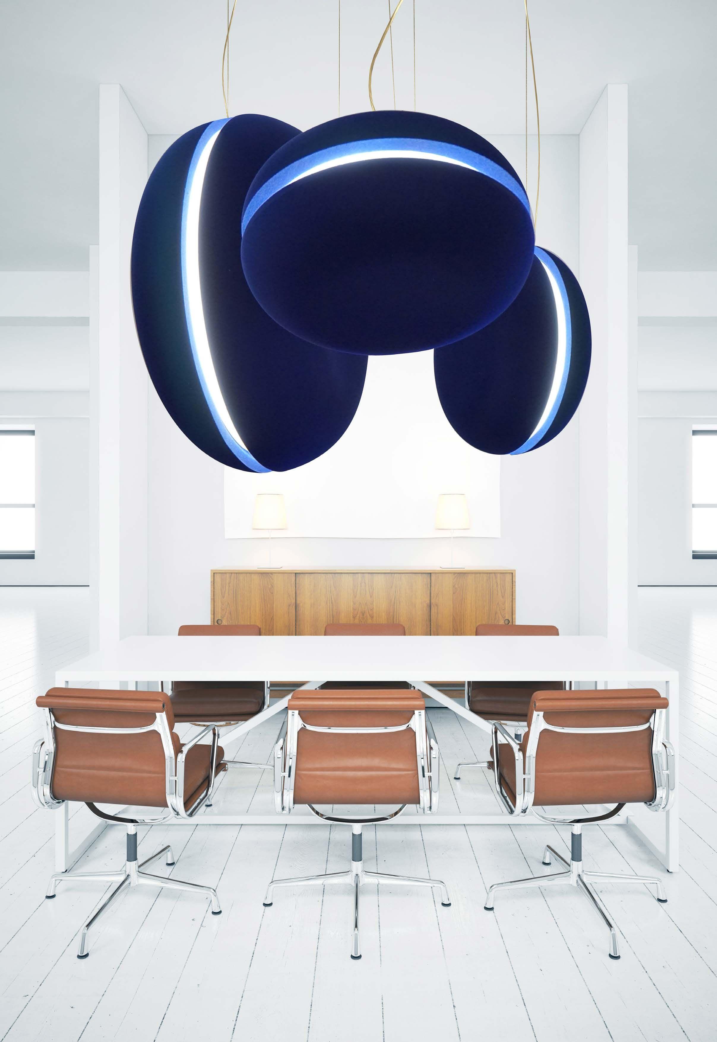 Acoustic Light Fixtures : Macaron vertical acoustic ceiling suspension lighting