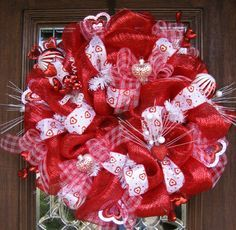Deco Mesh RED and WHITE VALENTINES Wreath by decoglitz on Etsy