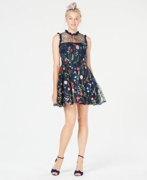 1d5b1fb778e64 City Studios Juniors' Floral-Embroidered Fit & Flare Dress, Created ...
