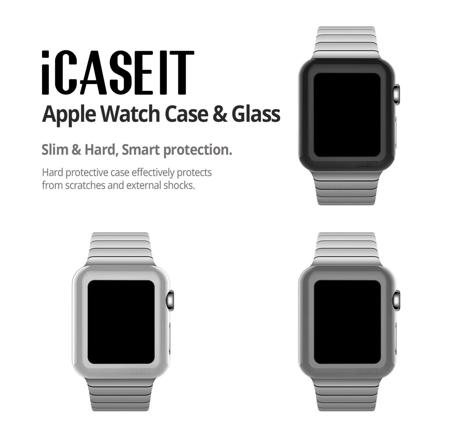 Apple Watch Case & Glass 38mm (Pack of 3)   Black, Silver & Gray