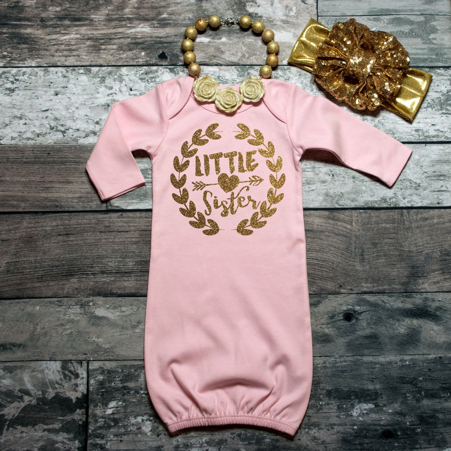 new pin shirt baby little coming glitter girl newborn gold sister gown