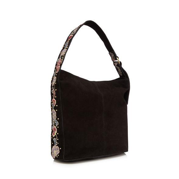 39454f5a72 Nine by Savannah Miller Black suede embroidered shoulder bag | Debenhams