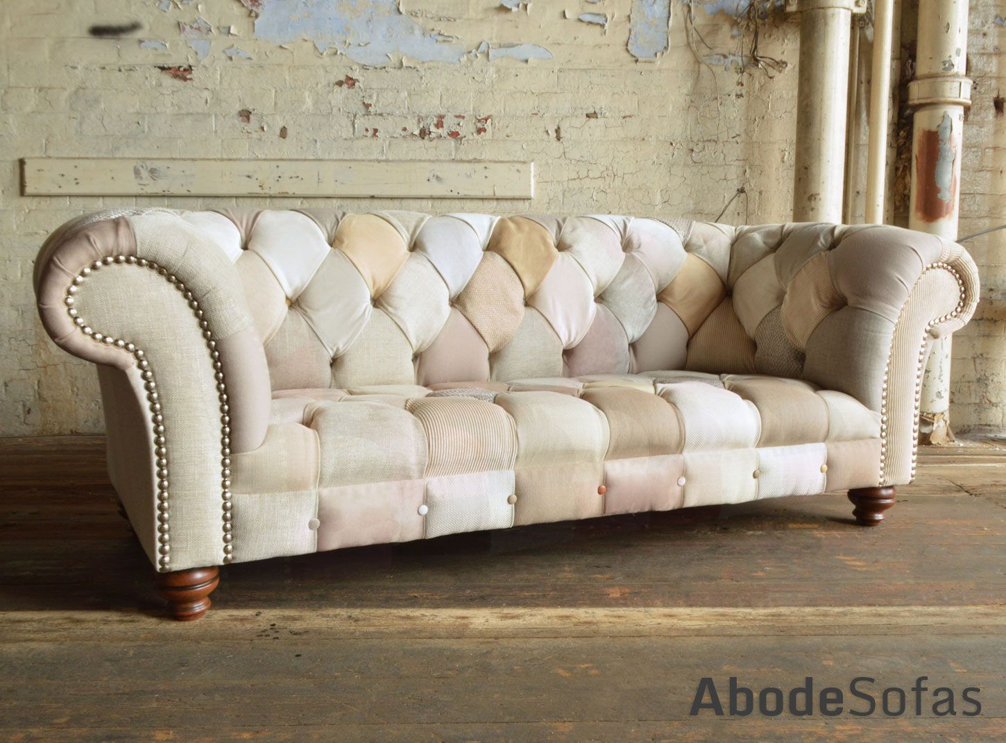 Modern British And Handmade Subtle Cream Patchwork Chesterfield Sofa Totally Unique Fabric 3 Seater Shown In A Range Of Beige Colours