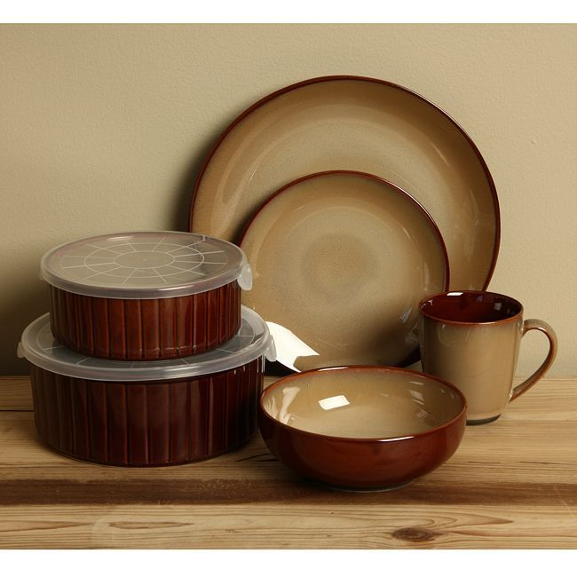 Sango Nova Brown 20-piece Dinnerware Set (Sango Nova Brown 20 piece dinnerware and storage set) & Sango Nova Brown 20-piece Dinnerware Set (Sango Nova Brown 20 piece ...