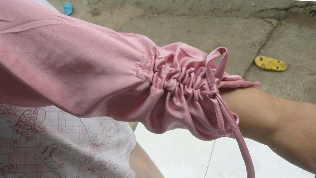 cara menjahit lengan baju yang ujungnya bisa di serut  Lengan