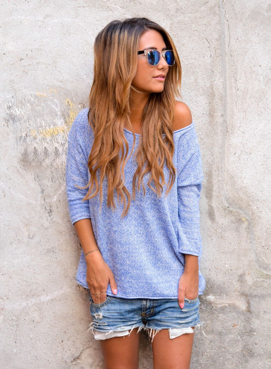 Ripped jean shorties with a slouchy off the shoulder 3/4 ...
