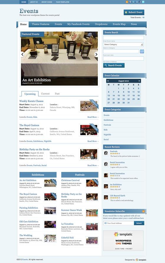 Events V2 WordPress Event Portal Theme   WordPress Themes ...