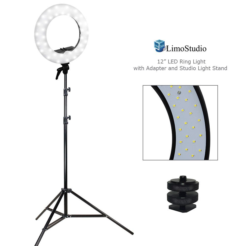 Limostudio Led Ring Light 5600k Dimmable 1 4 Screw Nut Camera Mount Adapter Light Diffuser Installed Light Stand Tri Led Ring Light Led Ring Led Shop Lights