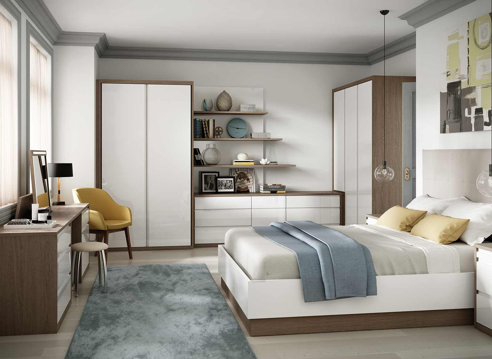 Fitted Bedroom in High Gloss and Oak Wood Finish