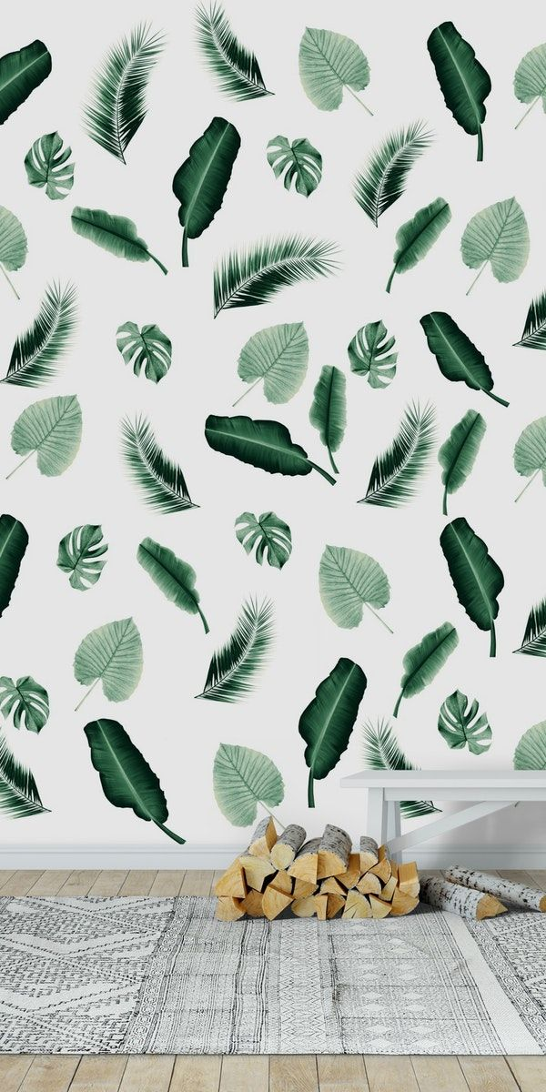 Tropical Jungle Leaf Pattern 2 Wall mural #elephantearsandtropicals