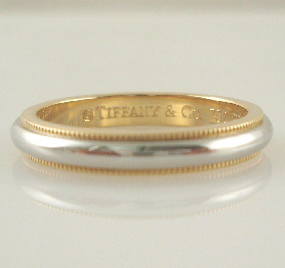 Tiffany Co Platinum 18k Gold 3mm Milgrain Wedding Band