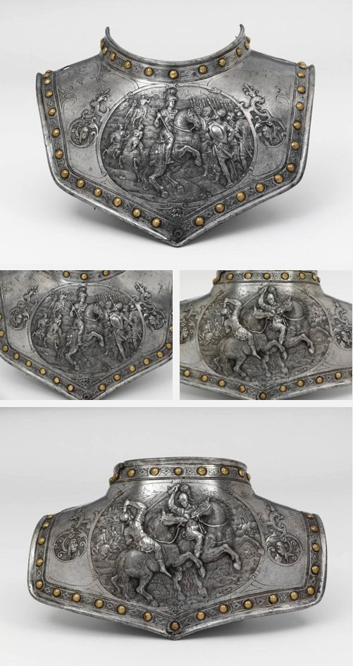 Gorget - 1600-25, Paris, France. Chiselled Iron embossed with gold. During the nineteenth century, it was in the Cabinet d'Armes of the Emperor Napoleon III at the Chateau Pierrefonds. This gorget, is an item of costume armour rather than battle protection. By the early seventeenth century, it was increasingly common for men to proclaim their military professions by combining pieces of armour or weaponry with civilian clothing.