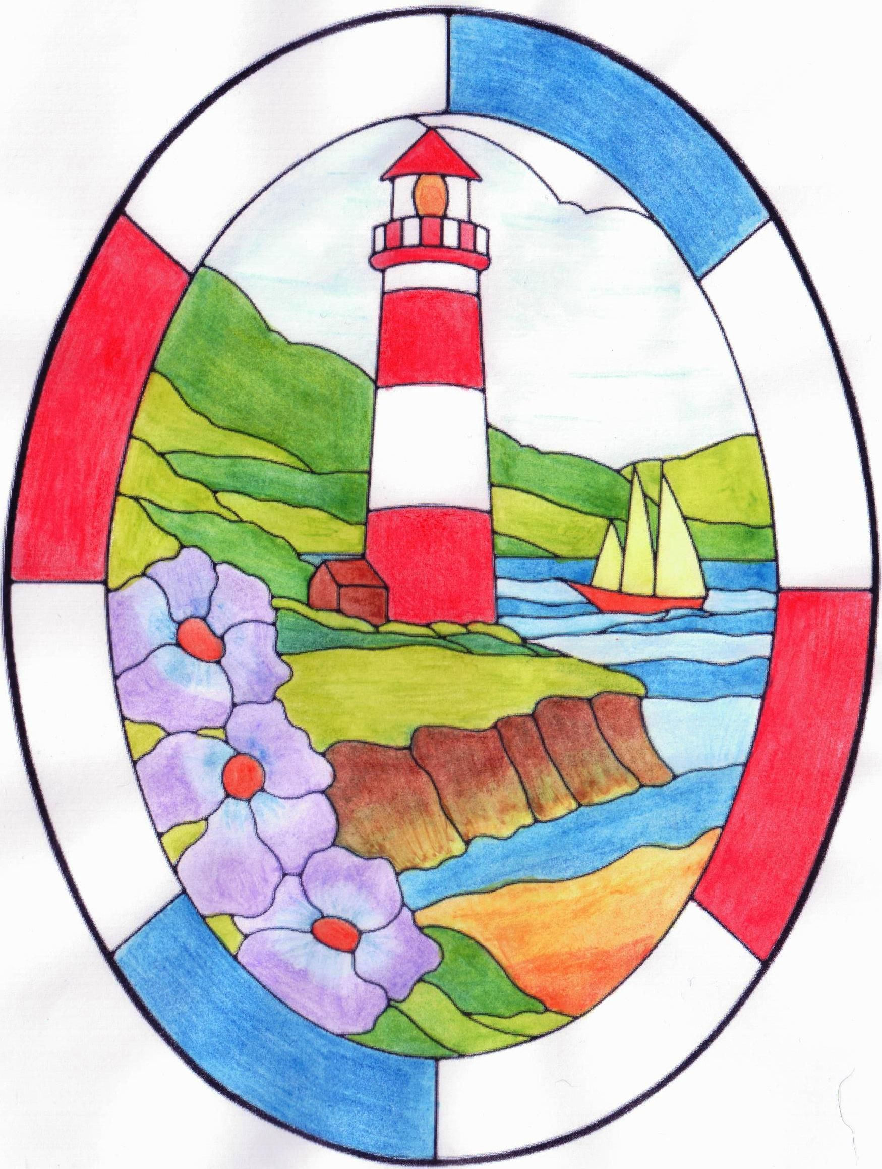 Vuurtoren Kleurplaat Colouring Page Lighthouse Met Aquarelpotlood Christmas Drawing Nautical Cards Colouring Pages