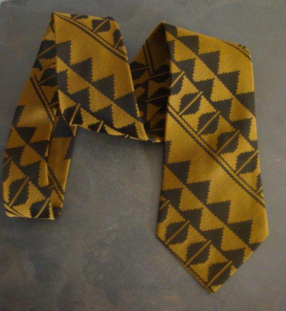 Vintage Mens Necktie Handmade Antique Gold by decadencefashion