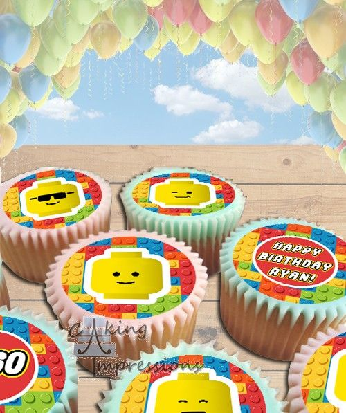 Stupendous Lego Bricks Edible Image Cake Topper Cupcakes With Images Funny Birthday Cards Online Overcheapnameinfo