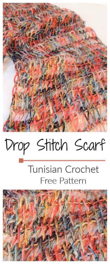 Drop Stitch Scarf Free Tunisian Crochet Pattern #tunisiancrochet