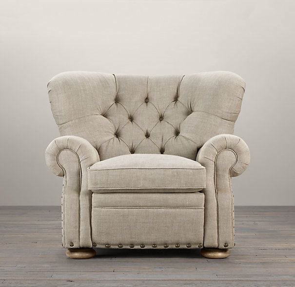 Restoration Hardware Churchill Leather Recliner With Nailheads