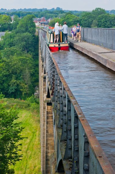 Pontcysyllte Aqueduct, nr Wrexham in Wales. One of the major engineering triumphs of Thomas Telford's remarkable career, The Pontcyslite Aquaduct carries the Shropshire Union Canal across the River Dee. The aquaduct is 127 feet above the valley floor #northwales
