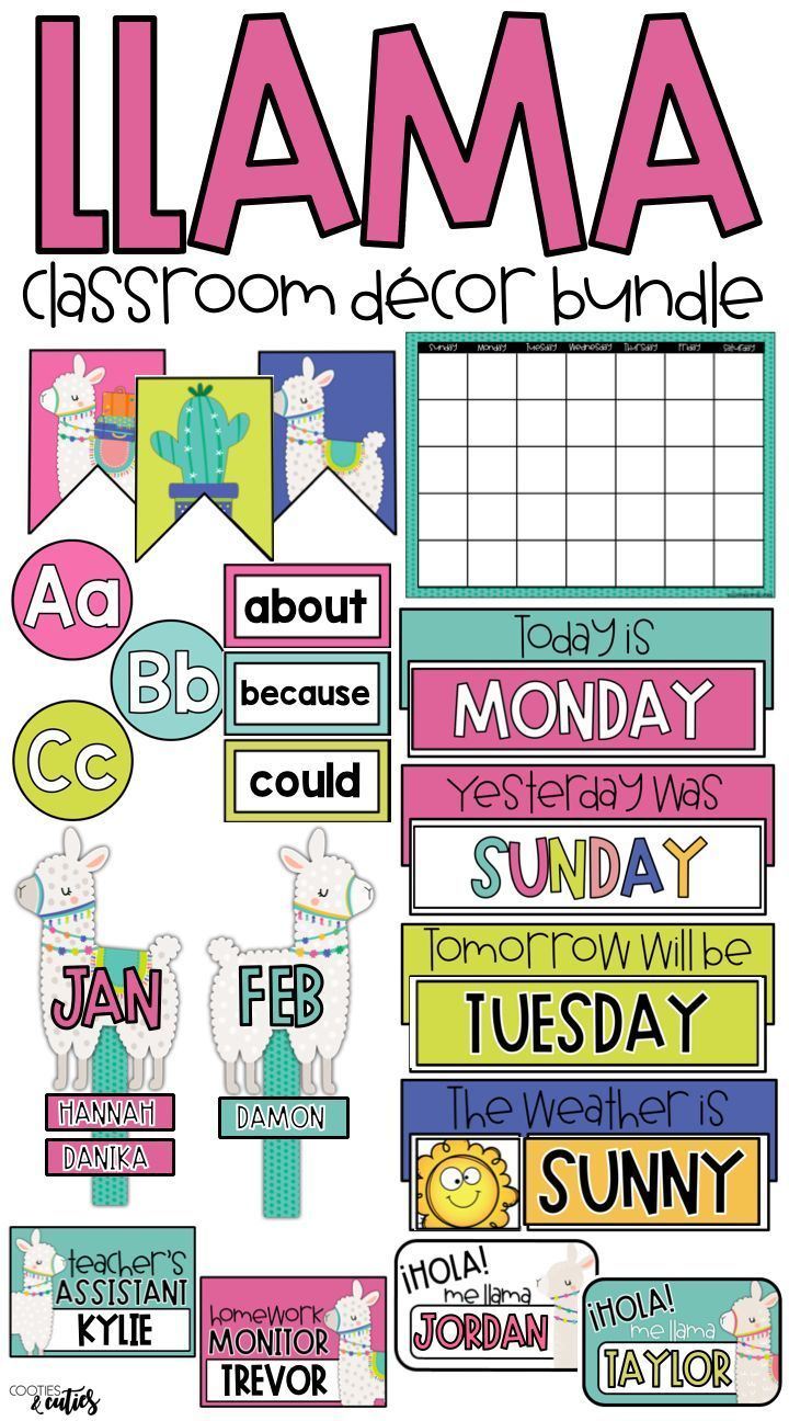 Llama Classroom Decor | Llama Decor | Editable Growing Bundle -   -