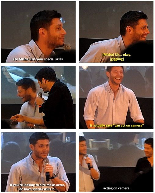 Jensen and Misha- In my top 5 panel moments, Misha\u0027s old résumé