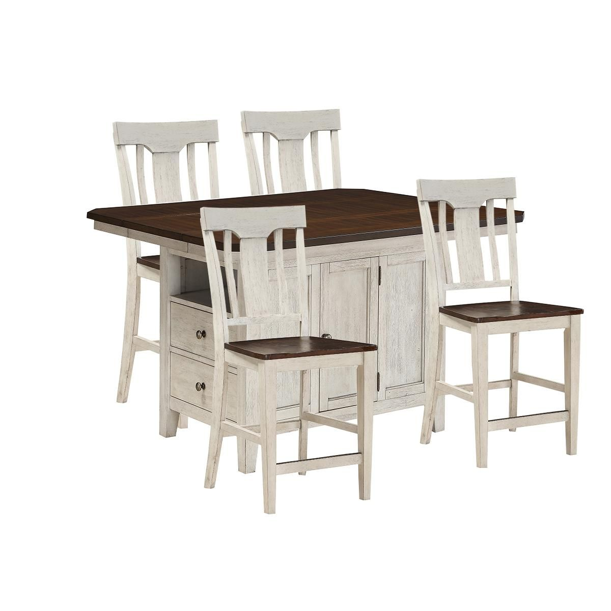 Newport 5 Piece Kitchen Island Set With Chairs In Dry Coffee Over White Furniture Rectangle Dining Set Furniture Shop