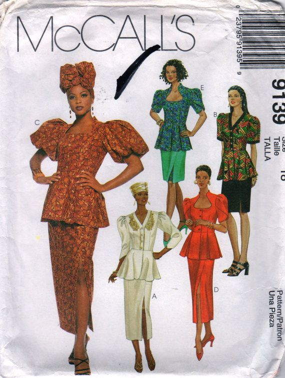 McCalls 9139 Misses African Fashion Skirt Peplum Top Hat Pattern ...