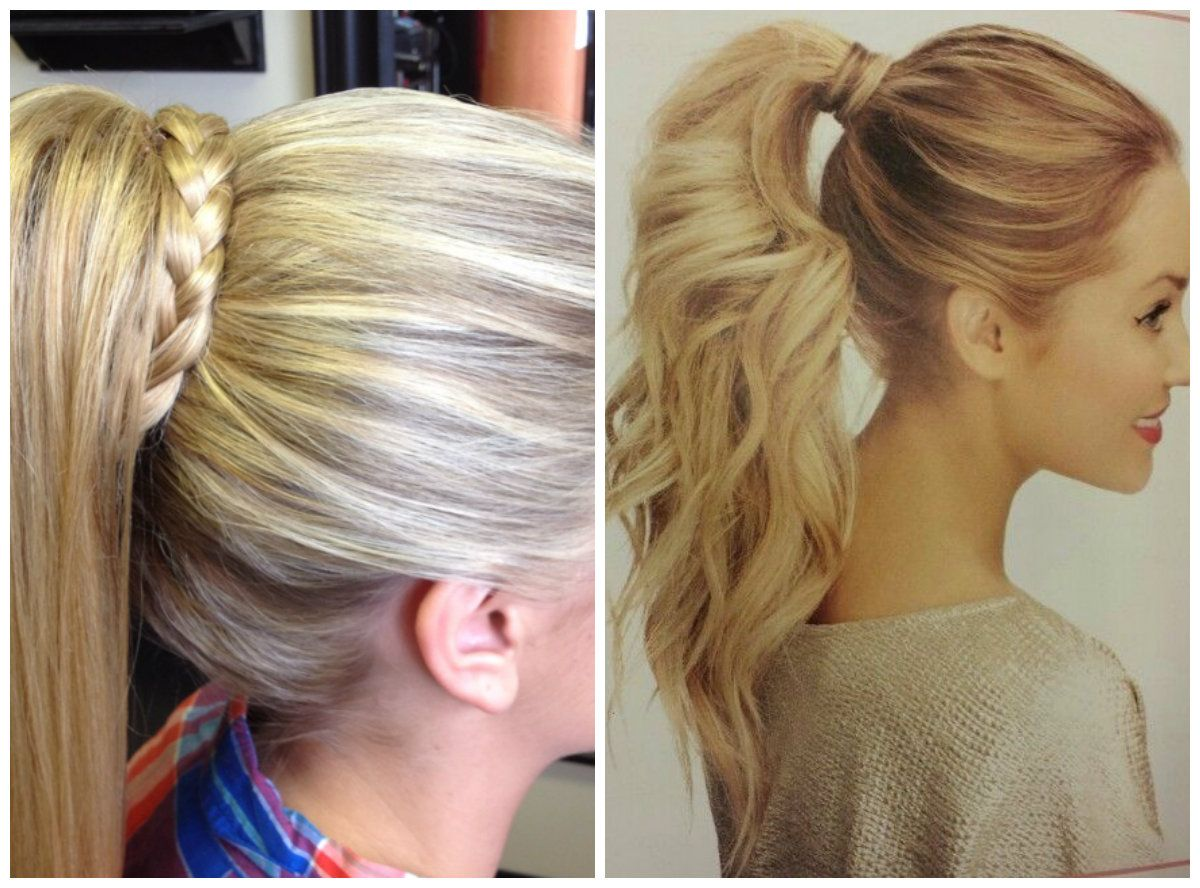 1 high ponytail with braid wrapped around hair