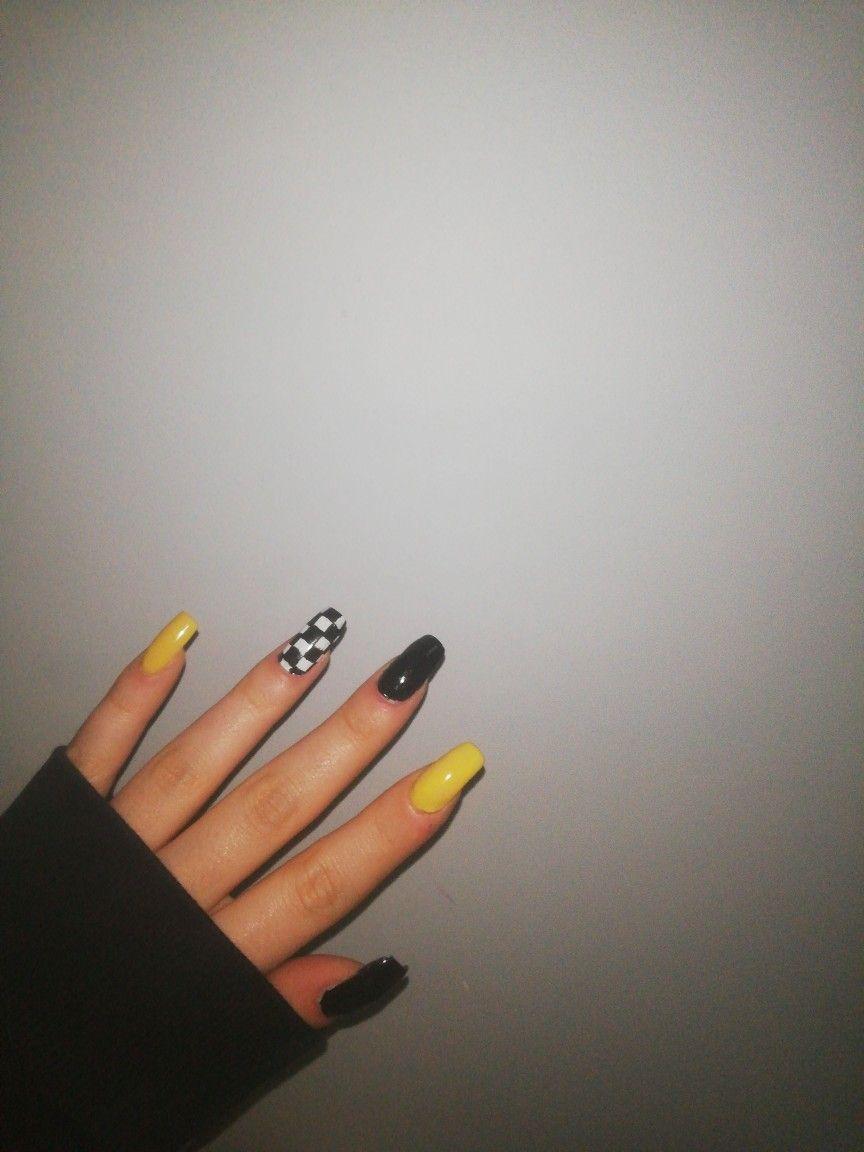 Acrylic Nails Yellow Grunge Nails Checkered Nails