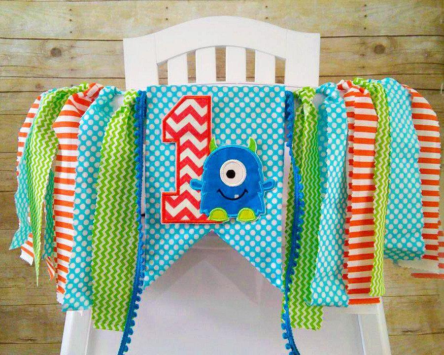 Monster 1st Birthday High Chair Banner Boy Highchair