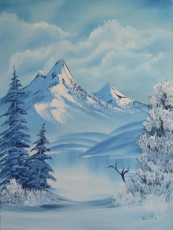 snowy mountain landscape painting. snowy mountain painting landscape u