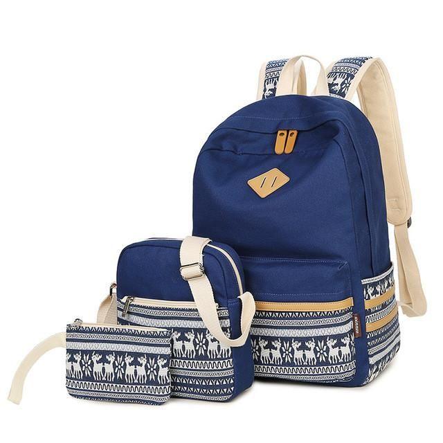 Casual Lightweight School Backpack for Women Teen Girls Plambag Canvas Backpack Set 3 Pcs