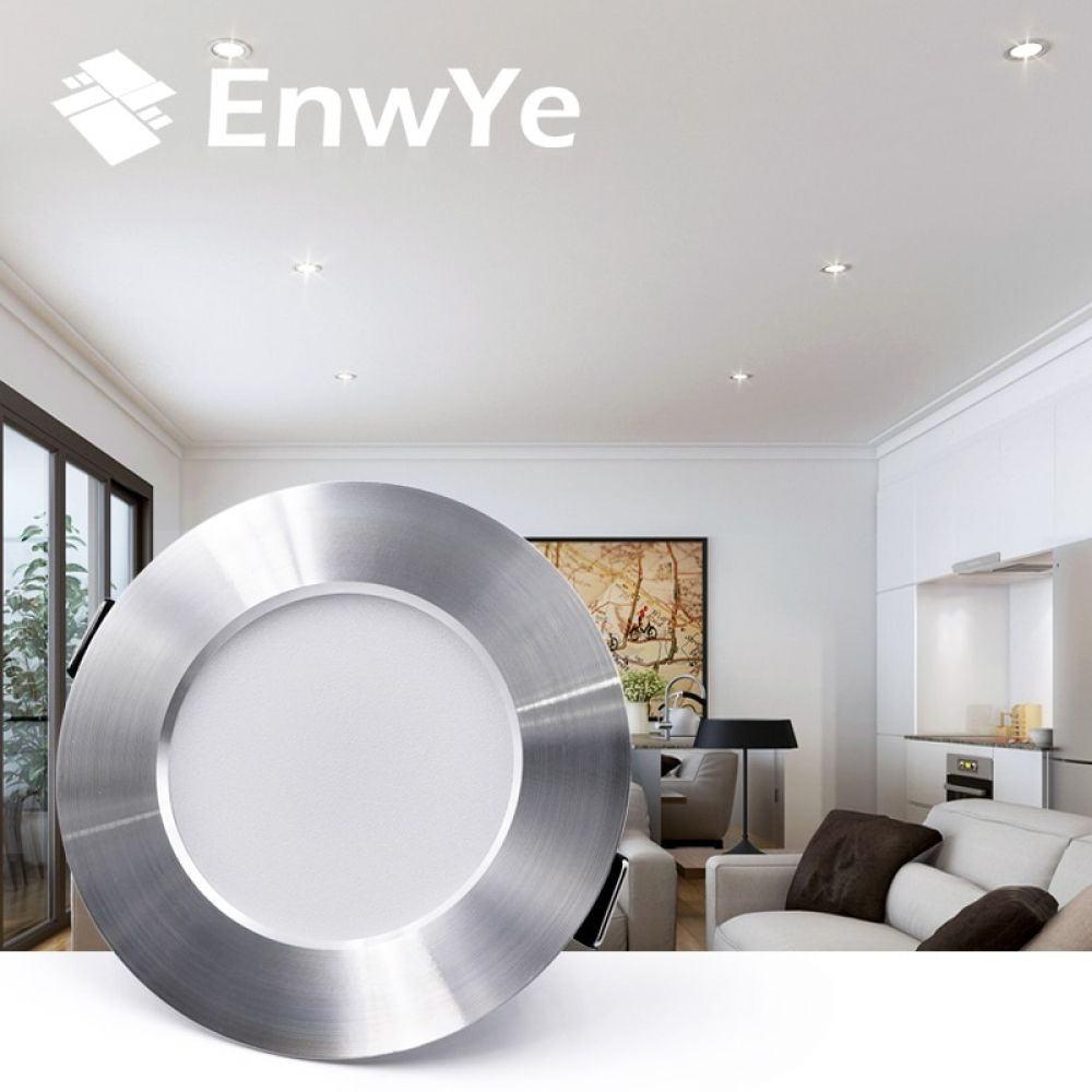 Enwye Led Downlight Ceiling Silvery 5w 9w 12w 15w Warm White Cold