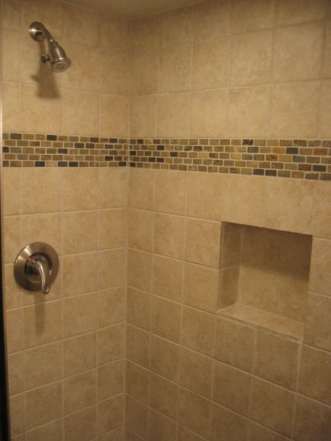 Slate Bathroom | The Slate Mosaic Of The Shower Floor Was Accented Above.  Built