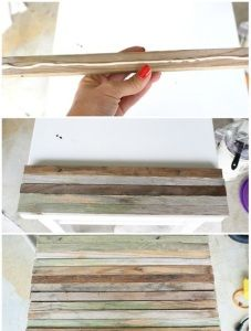 6.Glue each piece onto the top of the side table.