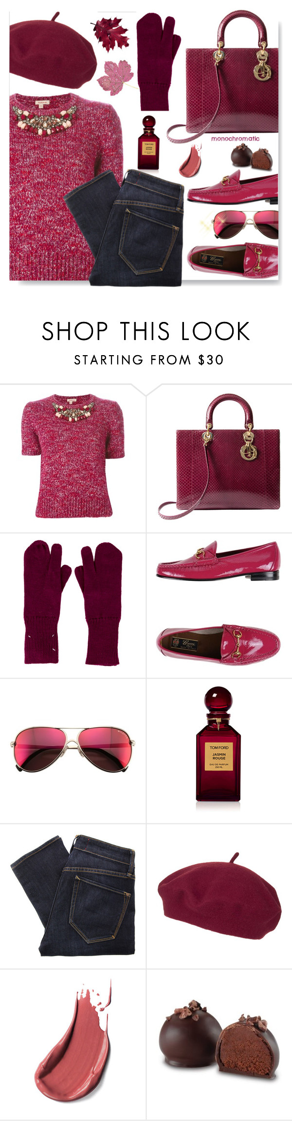 """""""raspberry beret"""" by drenise ❤ liked on Polyvore featuring P.A.R.O.S.H., Christian Dior, Maison Margiela, Gucci, Wildfox, Tom Ford, Marc by Marc Jacobs, Topshop, monochrome and beret"""