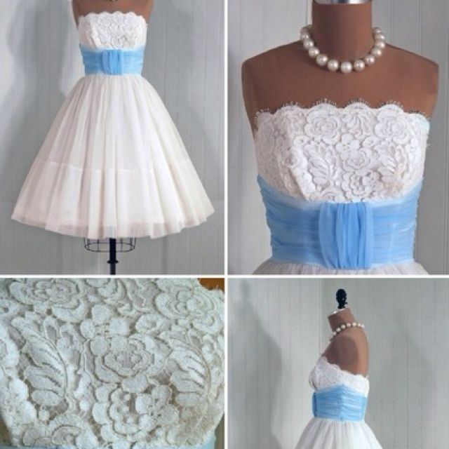 Girls in white dresses with blue satin sashes!