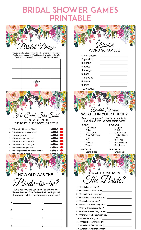 Bridal Shower Games Printable Bridal Shower Games Bundle