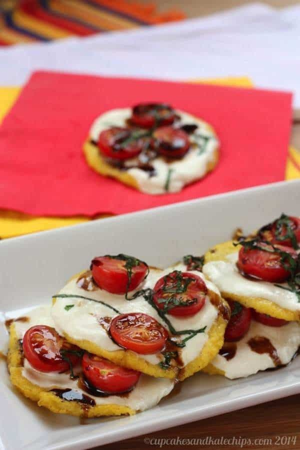 Caprese Polenta Pizzas. Perfect for the Holidays or game day!