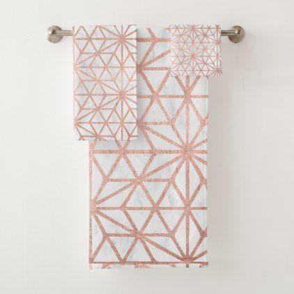 Rose Gold Stars Geometric Pattern White Marble Bath Towel Set