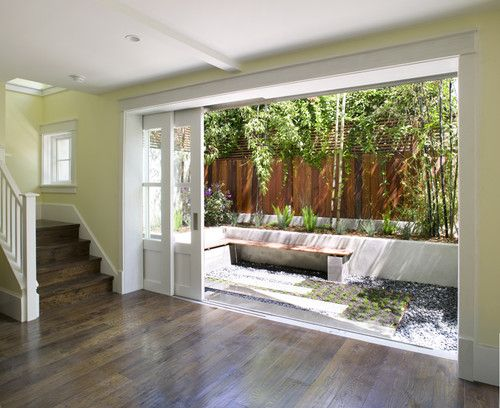 Pocket French Doors Leading To Small Courtyard Pierce Street